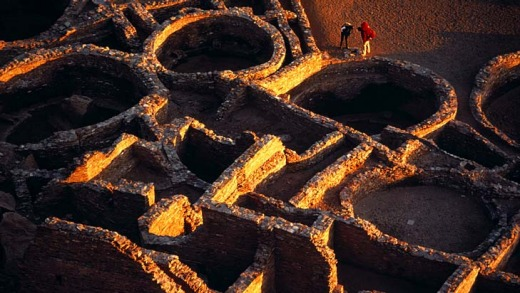 The sandstone Chaco Canyon in New Mexico.