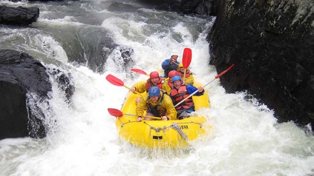 Wet and wild ... making a splash on the Nymboida River.