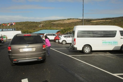 Surfers vs tourist buses at Bells Beach car park