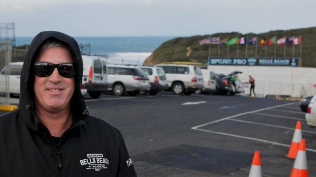 Surfers vs tourist buses at Bells Beach car park.