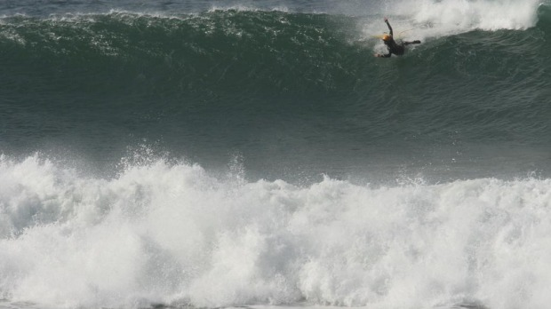 Wiping out in three metre surf at Bells.