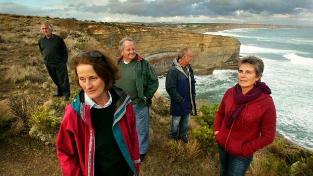 The last resort: Port Campbell residents (from left) John Saxon, Marion Manifold,Neil Trotter, Chris Belcher and Julie ...