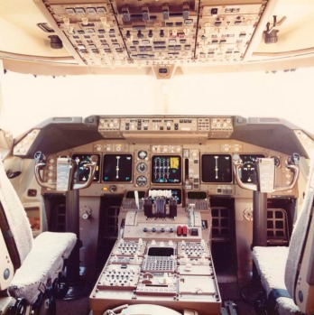 The cockpit of a Singapore Airlines 747 jumbo jet.