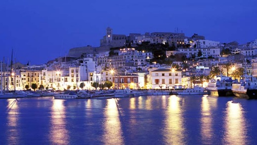 Ibiza town harbour at dusk.