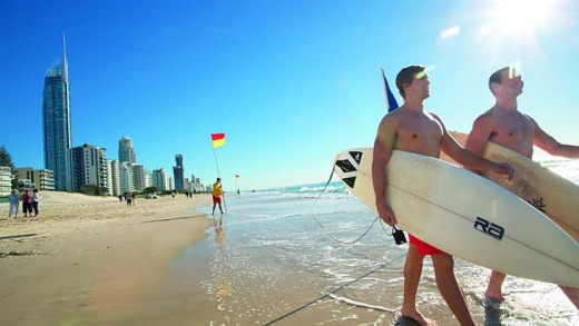 Surf's up ... locals and tourists enjoy the sunshine at Surfers Paradise.