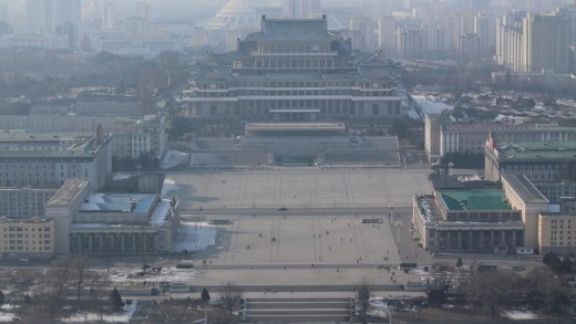The view across the frozen Taedong River, in Pyongyang, North Korean, February 12, 2012, from the top of the Juche ...