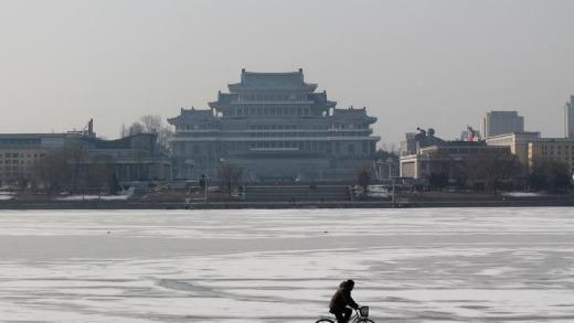 The view across the frozen Taedong River, in Pyongyang, North Korean, February 12, 2012, from below the Juche Tower. We ...