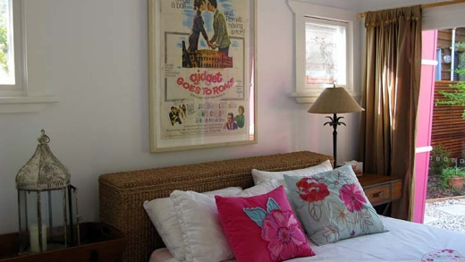 A <em>Gidget Goes to Rome</em> poster features in the main bedroom.