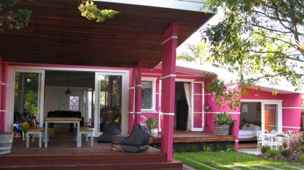 Vibrant vibe ... the hot pink holiday house at Culburra.