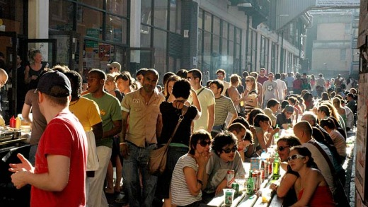 'Ello', 'ello ... crowds come for Brick Lane's eclectic mix of balti houses, cafes, beigels, bars and galleries.