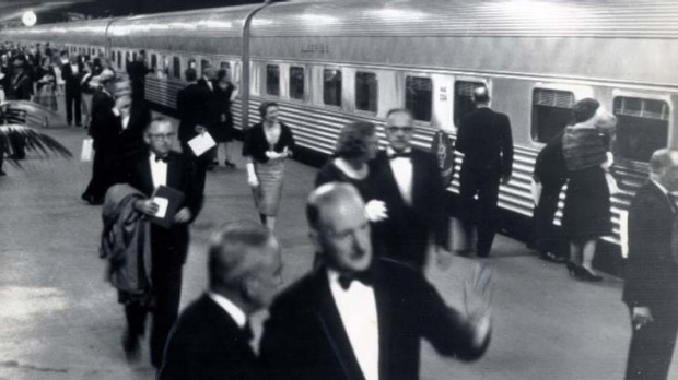 Pomp ... guests prepared to board the inaugural Southern Aurora service to Melbourne at Central Station in April 1962.