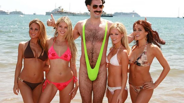 Sacha Baron Cohen as Borat.