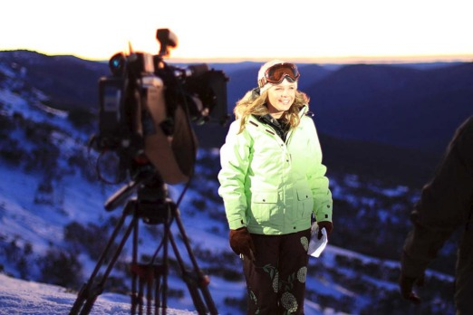 Emma Freedman filming in Thredbo for 'The Weekend Today Show'.