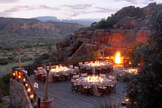 A deck for dining at Bushmans Kloof.