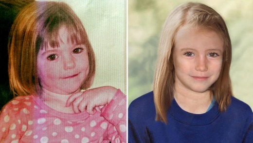 How she might look like now: The McCanns this month released an age-progression image of Madeleine aged 9, right.