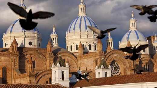 The blue domes of Cuenca's new cathedral.