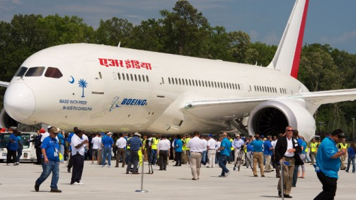 The first South Carolina-built Boeing 787 Dreamliner is scheduled for delivery to Air India in mid-2012.