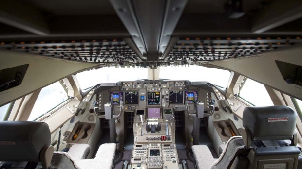 The flight deck of the Boeing 747-8 Intercontinental airliner.