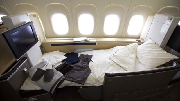 A first class berth on Lufthansa's Boeing 747-8 Intercontinental.