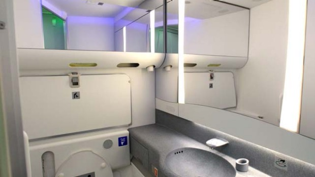 A restroom is seen with some of the variable lighting available on the new Boeing 747-8 Intercontinental