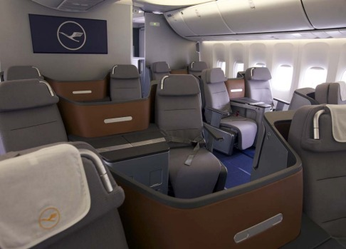 Business class seats on board the Lufthansa Boeing 747-8 Intercontinental.