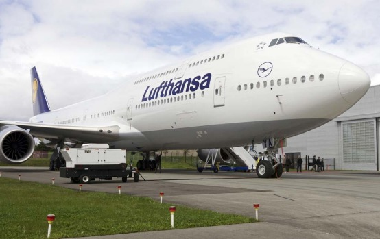 The Boeing 747-8 Intercontinental airliner which was delivered to launch partner Lufthansa sits on the tarmac at the ...