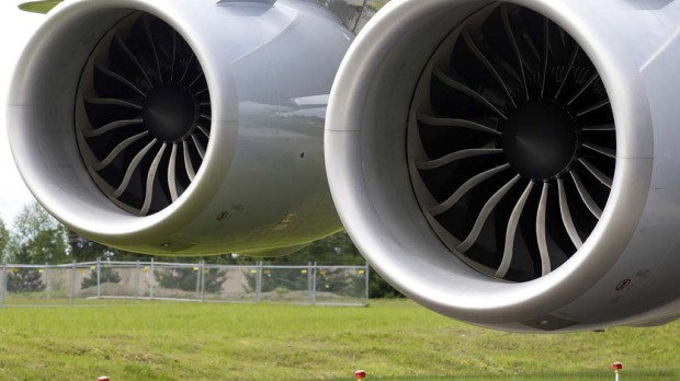 A General Electric GENx-B2 engine pair on the Boeing 747-8 Intercontinental.