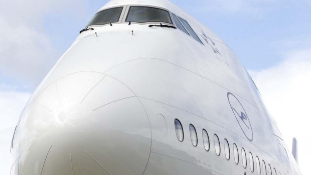 The Boeing 747-8 Intercontinental airliner's nose.