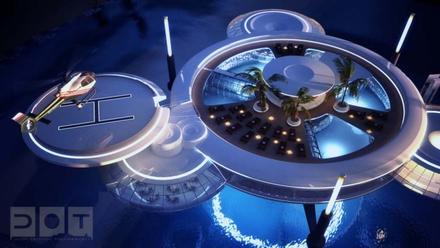 The hotel, featuring a discus-shaped residential underwater building connected to another discus above water, will be ...