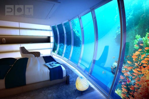 The disc, located up to 10 metres beneath the surface of the sea, is composed of 21 hotel rooms adjacent to the ...