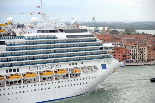 The Costa Fascinosa, the new flagship of the Italian passenger fleet and Costa Cruises built at Fincantieri's Marghera ...