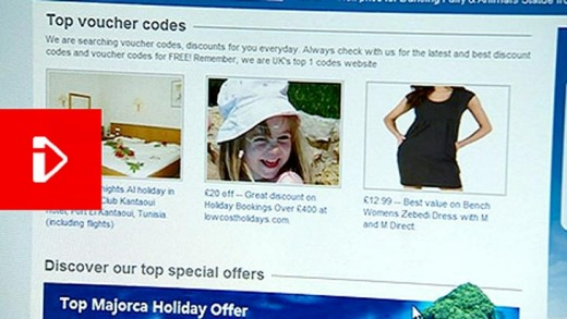 The BBC captured Madeleine's image on this holiday deals website.