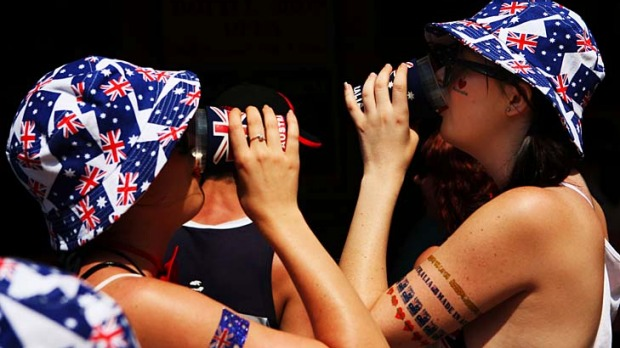 Showing their colours ... but is the drunken Aussie image warranted?