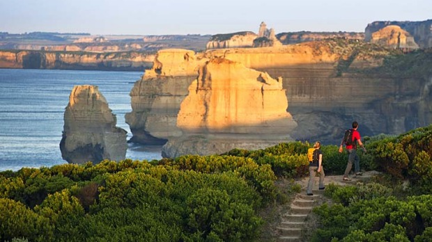 Coast watch... a hiking path offers views of the Twelve Apostles.