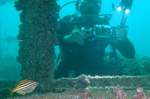 Diving at the wreck of HMAS Adelaide.