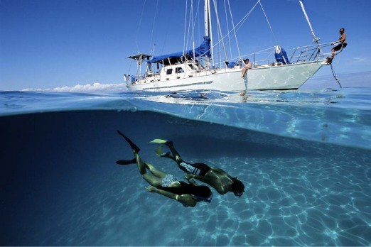 Snorkelling on a private yacht.