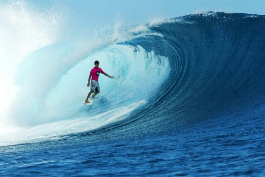 Surfing at Cloudbreak, Tavarua.