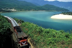 North and south ... the SE1 steams along the Vietnam coast.