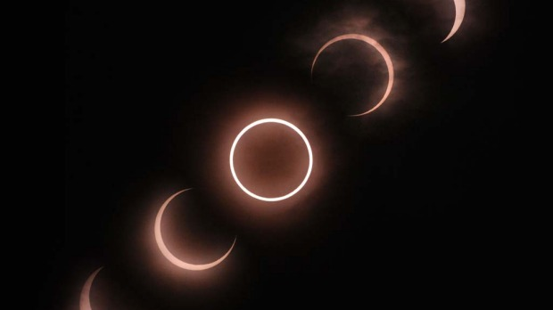 This combination picture shows the annular solar eclipse seen from Tokyo.