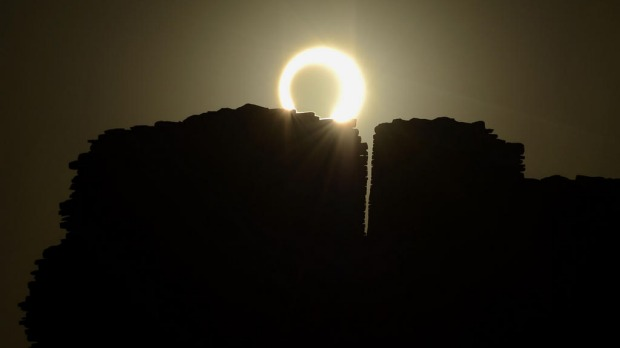 The annular eclipse as seen over the Pueblo Bonito ancient building at Chaco Culture National Historical Park in Nageezi, Arizona.