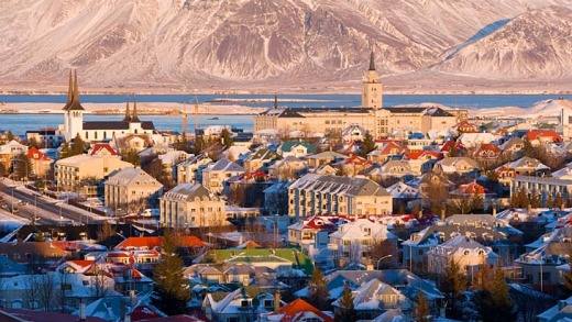Reykjavik, the capital of Iceland, in winter.