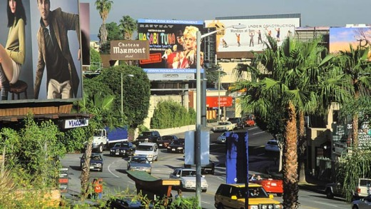 Famous faces ... Sunset Strip, Los Angeles.