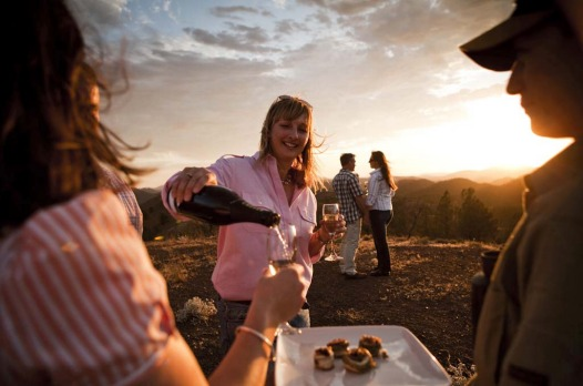 Canapes served at sunset at Arkaba Station in the Flinders Ranges, South Australia.