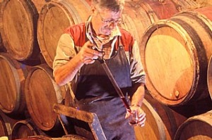 By the barrel... taking samples for tasting at Tain l'Hermitage.