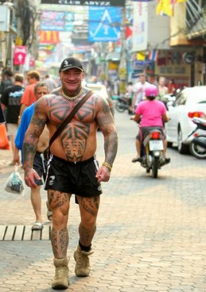 Steroid user Tim 'Sharky' Ward in Pattaya.