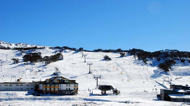 Perisher yesterday. The resort plans to open a week ahead of the ski season's official starting date thanks to early snow falls.