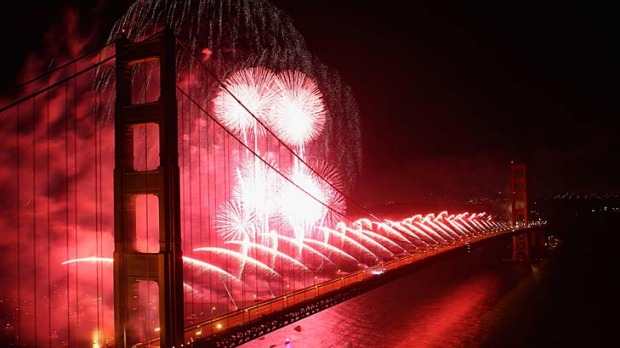 Fireworks explode over the Golden Gate Bridge in San Francisco to mark its 75th anniversary. The 2.7km steel suspension ...