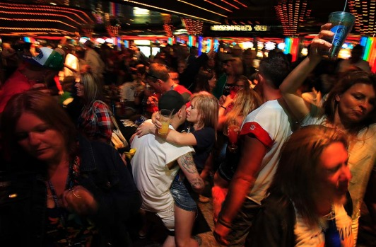 Fans crowd the casino during the Kid Rock cruise.