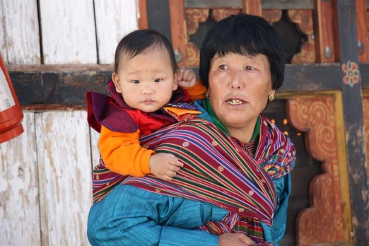 Bhutanese woman and child in Paro.