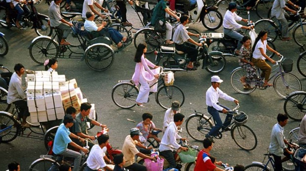 The new age ... bike traffic in Ho Chi Minh City.